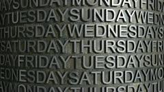 Metal week day roll Stock Footage