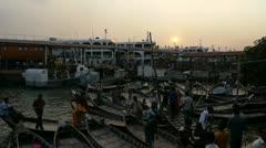 Dhaka Buriganga River Man Asleep in Boat Stock Footage