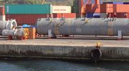 Stock Video Footage of Large gas pipes in port