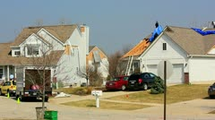 F3 tornado ripped through rural community subdivision Stock Footage