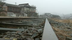 Japan Tsunami 1 Year On - Abandoned Railway Tracks Stock Footage