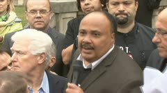 Martin Luther King III at Sudan protest Stock Footage