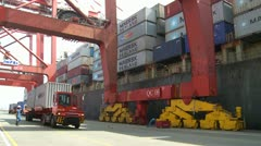 Quayside Pan Of Containers Being Loaded Stock Footage