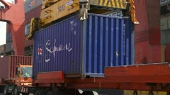 Safmarine Container Being Hoisted Stock Footage