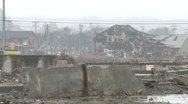 Japan Tsunami 1 Year On - Kesennuma Port Devastation Stock Footage