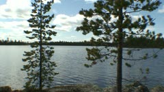 Bank of the lake in Finnish Lapland 6 - stock footage