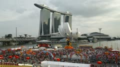 Chinese New Year, Marina Bay, Singapore, T/L Stock Footage