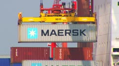 Maersk Container Being Loaded Onto Ship 3 Stock Footage