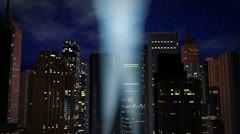 Hollywood - Sky tracking searchlights over city Stock Footage