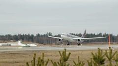Qatar Airways Airbus A-330 landing Stock Footage