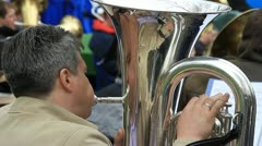Man plays the french horn Stock Footage