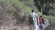 Stock Video Footage of La Gomera, walking people, footpath near Igualero, POV