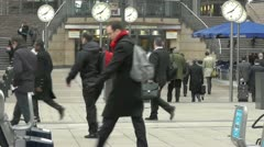 Canary Wharf Time is Money Slow Motion People Walking Stock Footage