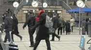 Stock Video Footage of Canary Wharf Time is Money Slow Motion People Walking