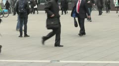 Slow Motion Anonymous Headless Crowd Walking - stock footage