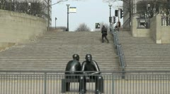Sculpture People in Canary Wharf Stock Footage