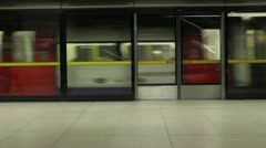 Arriving by London Underground Jubilee Line Tube Train Stock Footage