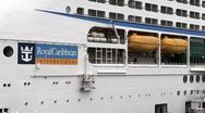 Royal Caribbean Cruise Ship being loaded Stock Footage