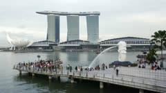 The Merlion statue, Singapore, Asia, T/L Stock Footage
