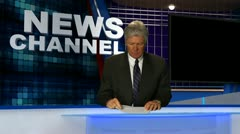 Stock Video Footage of News Broadcaster