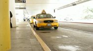 Stock Video Footage of Young womenl catching a cab at the airport HD9327