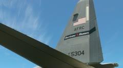 USAF WC-130J hurricane hunter plane tail Stock Footage