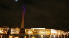 Palace Square in St. Petersburg, moonlit night Stock Footage