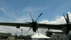 USAF WC-130J hurricane hunter plane wing and nose Stock Footage