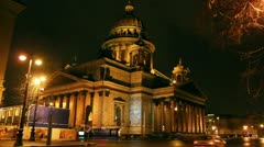 Isaakiy cathedral dome at night, Saint-petersburg, Russia Stock Footage