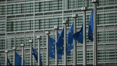 Brussels Euro flags 2 Stock Footage
