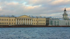 Panorama of Neva river in the historical center of Saint-Petersburg, Russia - Stock Footage