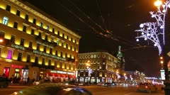 Nevsky Prospect in St. Petersburg at Christmas night Stock Footage