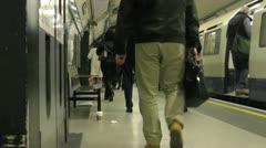 London Underground slow motion platform Stock Footage