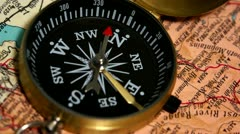 Compass in map 4 Stock Footage