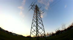 Electrical Tower Fisheye Timelapse Stock Footage