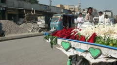 Selling vegetables along the street in Pakistan - stock footage