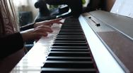 Stock Video Footage of Little girl playing piano for music school