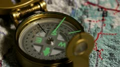 Compass in map 5 Stock Footage