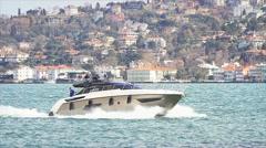 Luxury white yacht Stock Footage