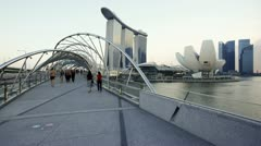 Artscience Museum, Helix Bridge, Singapore, T/L Stock Footage