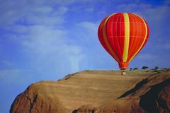 Hot air balloon, red rock, new mexico Stock Photos