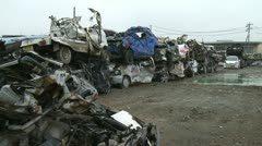 Japan Tsunami 1 Year On - Wrecked Cars Stock Footage