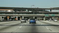 California Freeway view from moving car - stock footage