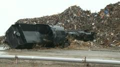 Japan Tsunami 1 Year On - Steam Train Lies In Debris Pile Stock Footage