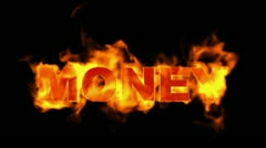 Fire money word. Stock Footage