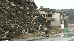 Japan Tsunami 1 Year On - Massive Pile Of Tsunami Debris Stock Footage
