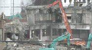 Japan Tsunami 1 Year On - Demolishing Damaged Building Stock Footage
