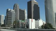 Stock Video Footage of Los Angeles Downtown - view from the moving car
