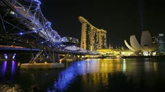 Artscience Museum, Helix Bridge, Singapore, T/L - stock footage