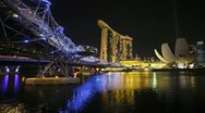 Stock Video Footage of  Artscience Museum, Helix Bridge, Singapore, T/L